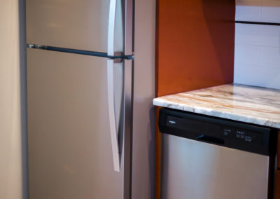 Stainless steel fridge and dishwasher shown in apartment kitchen